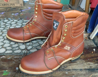 1990's Carolina Insulated Logger Boots / Stock # 709 / Made in U.S.A. / US Men: 16 D / Deadstock Condition / Never Worn / Brown Leather