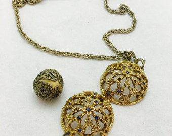 Vintage Gold Toned Perfume Ball Necklace