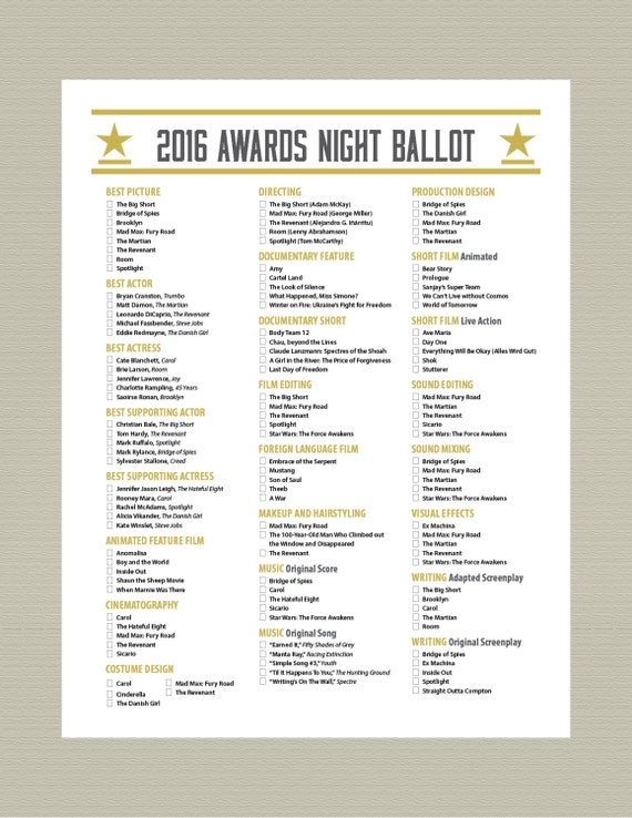 Items similar to 2016 Printable Oscar Ballot Party Pack Gold Camera on ...