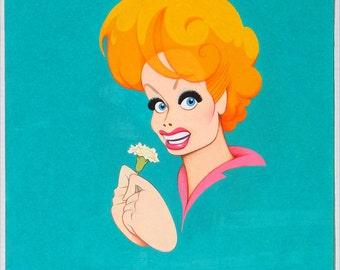 Lucille Ball original drawing by Disney Artist Dave Woodman