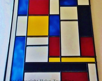 Piet Mondrian inspired abstract mirror ~ a hand painted and leaded, stained glass effect, decorative 30x50cm mirror. By Helen Zwerdling