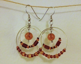 brown and amber layered hoop earrings