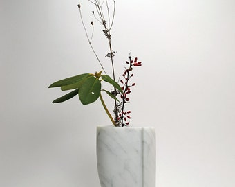 Moderne marmer van de minimalistische witte vaas kunst vaas hedendaagse marmeren beeldhouwwerk Trendy witte vaas originele kunst Elegant Decor van het huis wit Decor
