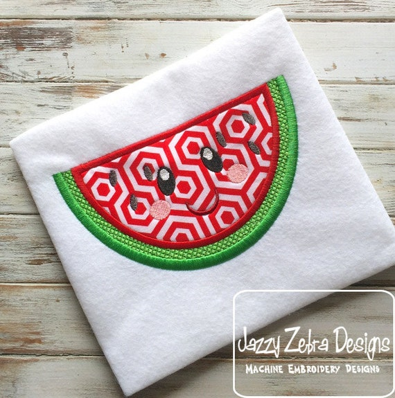 Watermelon with Face 104 Appliqué Design - watermelon appliqué design - fruit appliqué design