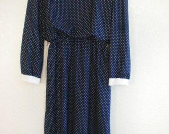 Vintage TJuniors Blue White Polka Dot Secretary Pin Up  Dress Sz 7
