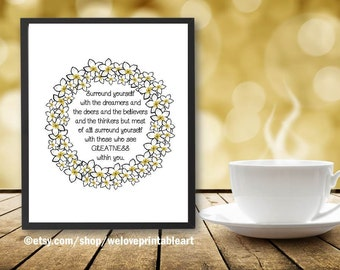 Surround Yourself, Motivational Wall Decor, Inspirational Quote Print, Motivational Wall Art Print, Inspirational Sign, Gift Idea