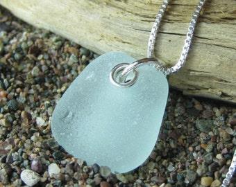 Aqua Marine Mini Genuine Sea Glass Necklace. Aqua Marine Seaglass Jewelry.  Beach Glass and Sterling Silver Chain by SeaglassWithATwist
