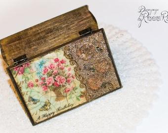 Jewelry box, decoupage, unique gift, handmade, gift box, keepsake box, hand painted, storage box, vintage jewelry box, spring gift, jewels