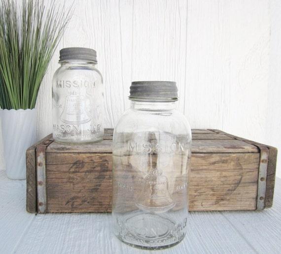 Vintage mason jars clear mission mason jar bell trade mark for Why are mason jars called mason jars