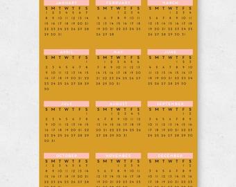 SALE Geometric Colorblock 2017 Wall Calendar // 11x17 PRINTED  //  Calendar Poster, Home Decor, Wall Art, 2017 Calendar, Wall Calendar