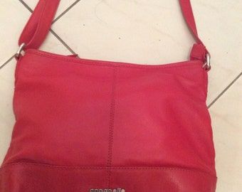 Vintage 80s Red Leather ANNAPELLE Satchel Tote Hand Slouch Bag