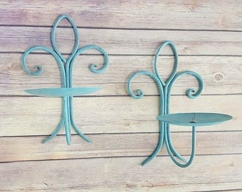 Sconce Candle Holders Pair Turquoise Wrought Iron Fleur De Lis Up Cycled Eco Friendly READY TO SHIP