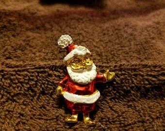 Vintage Gold Tone Santa Pin