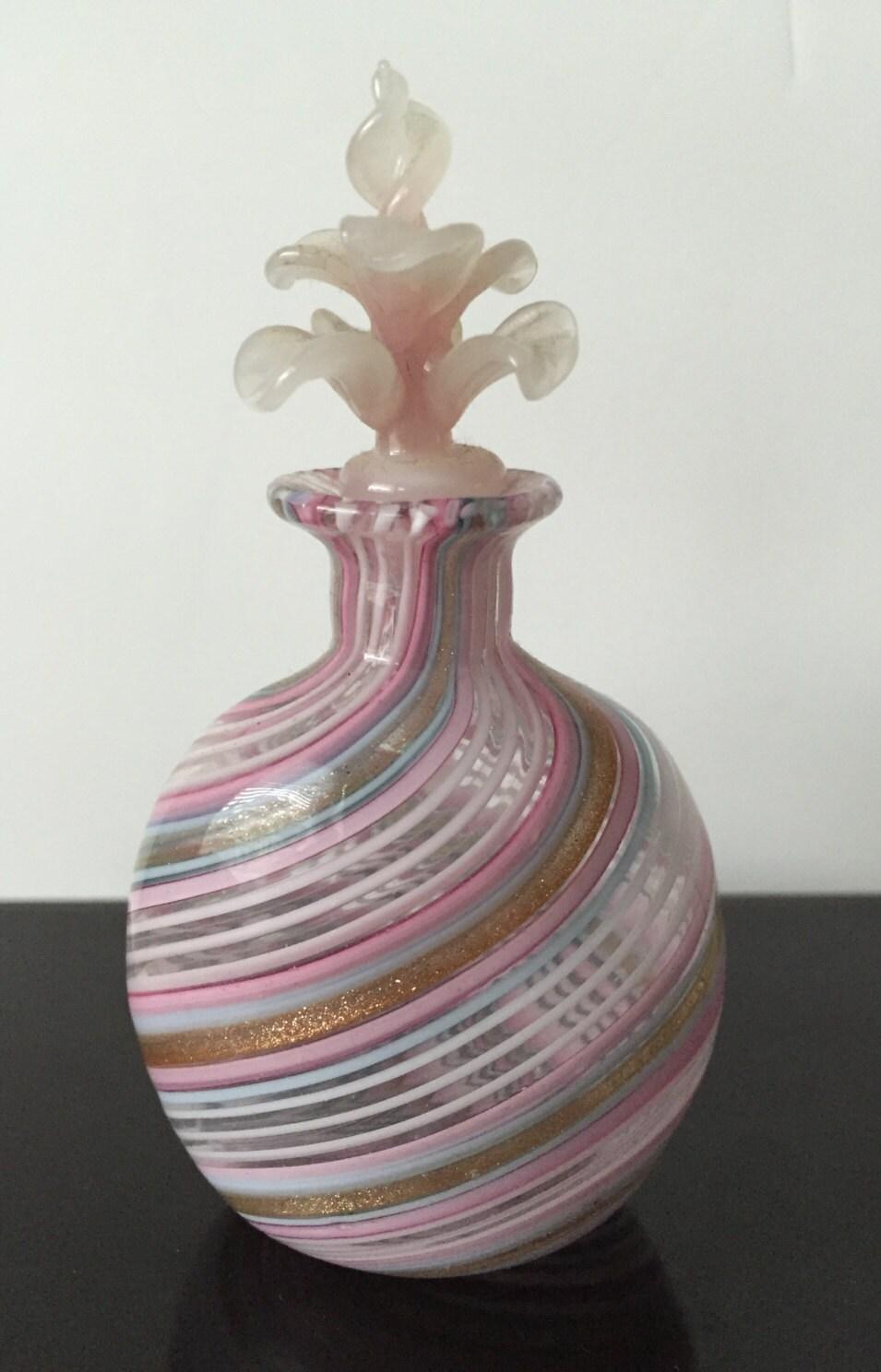 Venetian Glass Perfume Bottle Vintage Hand Blown Glass Pink