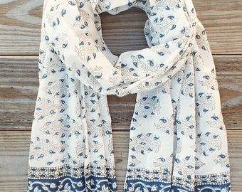 Fair Trade Blue and White Floral Cotton Hand Block Printed Scarf