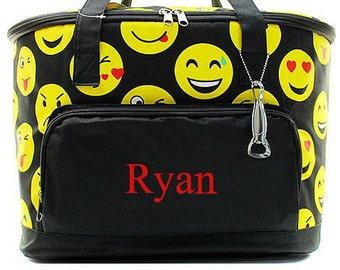 Monogrammed Cooler  Emoji Insulated Monogrammed Cooler Bag  Personalized Tailgating Cooler