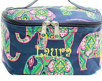 Monogrammed Cosmetic Bag  Navy Elephant Makeup Bag  Monogrammed Makeup Bag