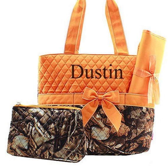 orange camo diaper bag for girl or boy diaper bag monogrammed. Black Bedroom Furniture Sets. Home Design Ideas