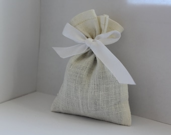 Natural linen bags - 10 pcs ~ Rustic wedding favor - Wedding favor bags - French gift bags - Linen favor bag - White Creamy linen small bags
