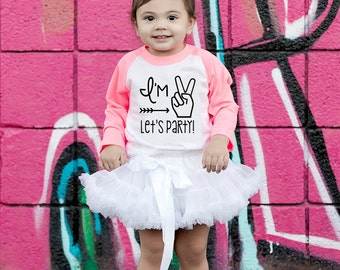Im TWO Let's PARTY T-Shirt- Girls Birthday Shirt- Second Birthday- Hipster T-Shirt- 2nd Birthday- Im This Many- Glitter- Birthday Tee