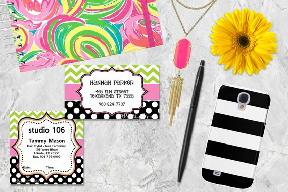 Gift Tags, Chevron, Dots, Black, Lime Green, Pink, Tags, Business Cards, Calling Cards, Appointment Cards
