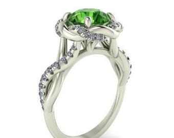Wedding Diamond Ring, Engagement Rings, Love Ring, Diamonds Ring, Natural Green Tourmaline and White Diamonds Bridal Ring