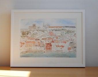 Whitby view papercut – original paper art – Yorkshire landscape – coastal scene – harbour –seafront – beach art – OOAK art – wanderlust