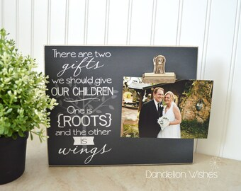 Wedding Gift For Parents, Custom Photo Frame  {Roots and Wings} Parents Of The Bride Gift, Parents Of The Groom Gift, Wedding Picture Frame