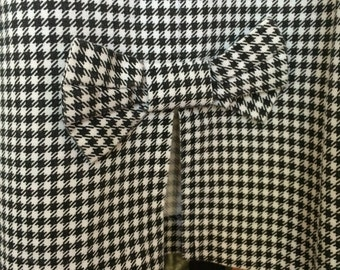 Skirt Bow Tie Back  Black White hounds tooth