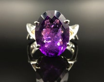 Amethyst Purple Rain Violet Flame Ring - Size 7 - Large Faceted Oval - Genuine Crystal - 925 Sterling Silver Twist Band - Cocktail Statement