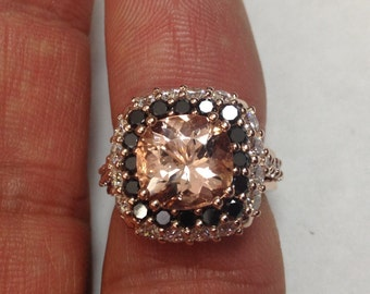 Unique Engagement Ring Black Diamond Wedding Ring Gemstone Engagement Ring 14K Rose Gold Ring Unique Gifts Morganite Fine Jewelry - V1096