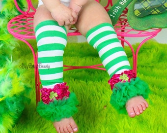 Green and white stripe leg warmers with hot pink chiffon flowers and shamrock glitter clover