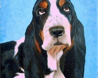 Basset Hound original hand painted pet portrait,SAMPLE