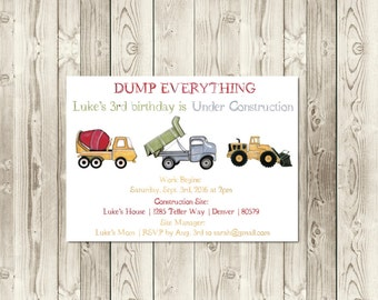 Construction Site Birthday Invitation | Dump Truck | Cement Mixer | Digger