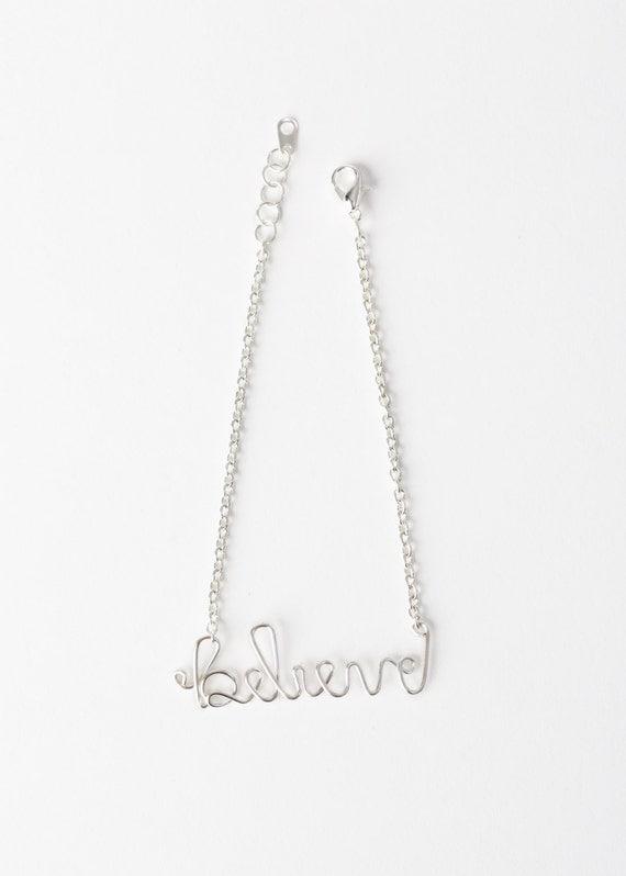 Believe Bracelet - Silver Believe Bracelet - Wire Word Jewelry – Believe Jewelry - Christian Jewelry – Christian Bracelet -Confirmation Gift