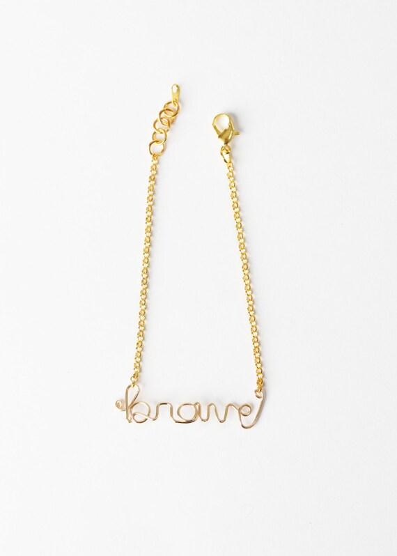 Brave Bracelet - Brave Wire Word Bracelet - Gold Wire Brave Bracelet - Inspiration Bracelet - Encouragement Bracelet - Brave - Be Brave
