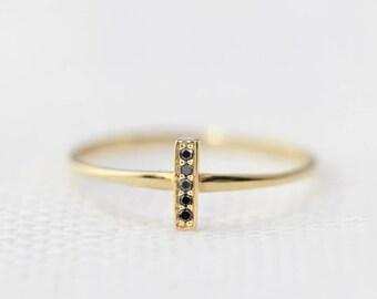 14k gold ring, rose gold, white gold, black diamond bar ring, mini bar pave ring, stacking ring, simple gold ring, bar-r101-5 (bdia)