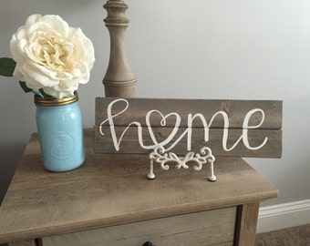 home ||  hand-painted wood sign || rustic home decor || hand lettered || HappyPlaque