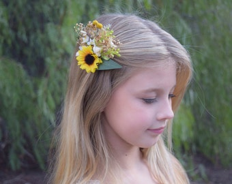 Sunflower & Baby's Breath Hair Clip - baby's breath, sunflowers, rosebuds, floral buttons, and greenery on a clip - wedding hair piece