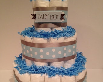 Boy Diaper Cake, Baby Shower Centerpiece, Baby Shower Gift, Diaper Cake