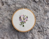Custom Embroidered Bridal Bouquet Portrait Hoop Art. 4 Inch Hand Embroidery Floral Hoop Keepsake. One of a Kind Wedding Gift. Bride Flower.