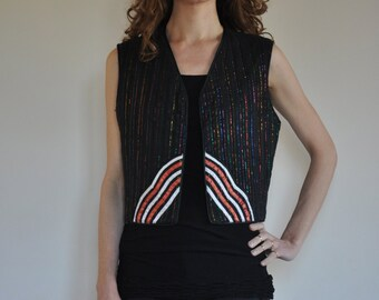 70's indian sheer cotton gauze padded vest with metallic rainbow stripes
