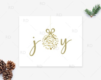 Joy - PRINTABLE Wall Art with Gold Ornament and Glitter / Holiday printable / Christmas Printable / Christmas joy printable / Xmas Joy Print