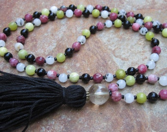 long beaded black tassel necklace 108 bead mala prayer beads quartz necklace pink lepidolite stone black obsidian green jade tassel necklace