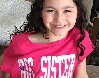 Custom Big Sister Shirt  Big Sister T-Shirt- Knockout Design Personalized Sister T-Shirt 
