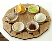 Passover Seder plate +  set of 6 pomegranate shape coasters.  Modern Judaica design Jewish gift 2 in 1 set Made in Israel
