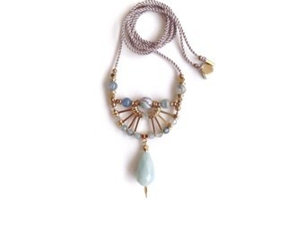 Camille Necklace  | Handmade Blue Gemstone Pendant Necklace | Brass and Silk Statement Necklace | Artisanal Geometric Jewelry