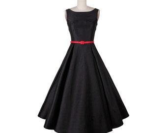 Black dress, High waist dress, Sleeveless tank top dress, Wedding formal dress, Bridesmaid dress, Classic dress, Audrey Hepburn Dress MS18