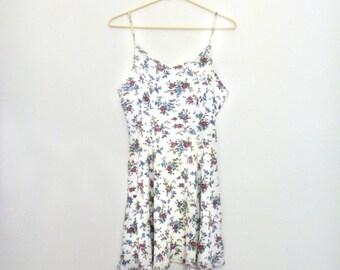 90s Vintage Grunge Summer Floral Mini Dress