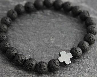 Boyfriend Gift Hematite Cross Lava Bracelet Mens Bracelet Mens Gift for Husband Gift for Son Gift for Him Cool Gifts for Men Black Bracelet